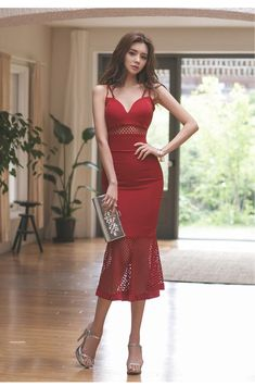 Korean Fashion Dress, Korean Dress, Women's Fashion Dresses, Korean Outfits, Tight Dresses, Trendy Dresses, Sexy Dresses, Red Summer Dresses, Party Dresses For Women