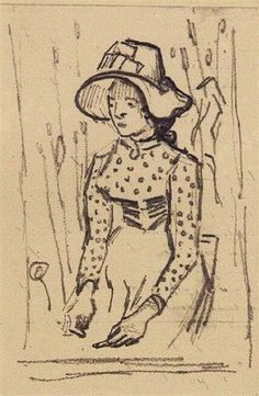Girl with Straw Hat, Sitting in the Wheat, 1890 by Vincent van Gogh. Post-Impressionism. sketch and study. Van Gogh Museum, Amsterdam, Netherlands