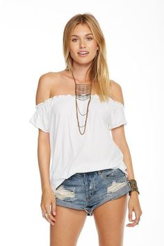 COTTON JERSEY SHIRRED BOHO TEE - chaserbrand.com
