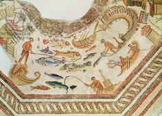 Detail of fishing scene (3rd cent.AD), from Vega Baja, Spain