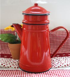 Hey, I found this really awesome Etsy listing at https://www.etsy.com/listing/165367895/french-vintage-enamel-red-coffee-pot