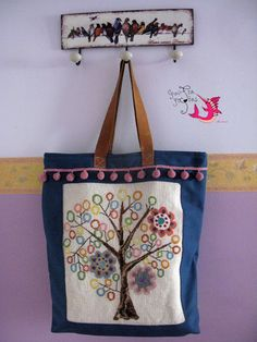 handmade embroidery tote bag Burlap, Reusable Tote Bags, Embroidery, Handmade, Fashion, Moda, Hessian Fabric, Fashion Styles, Craft
