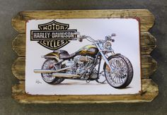 Harley Davidson Retro Metal Poster Framed in Distressed Pinewood by ArtMaxAntiques on Etsy