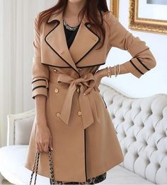 Slim Double-Breasted Coat Jacket on Luulla