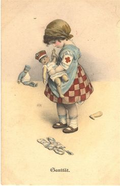 An illustration of a girl playing nurse with doll, ca. 1915. Pictures of Nursing: The Zwerdling Postcard Collection. National Library of Medicine