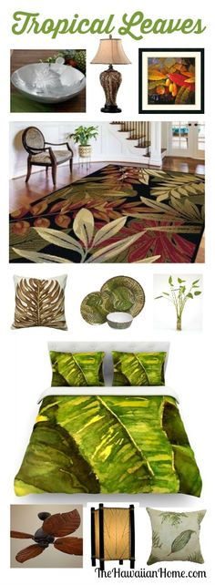 Tropical Leaves Decorating - love this elegant way to create a Hawaiian style home.