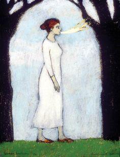"Brian Kershisnik: ""Woman Breathing Fire""  love all of his work!"