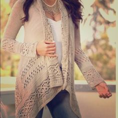 Collarless Hollow Out Solid Color. Cardigan Simple Style Collarless Hollow Out Solid Color Irregular Cardigan. Type: Cardigans  Material: Polyester  Sleeves Length: Full  Collar: Collarless  Style: Fashion Sweaters Cardigans
