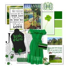 """Irish Girl"" by molly2222 ❤ liked on Polyvore featuring Paule Ka, Rupert Sanderson, Lanvin, My Word!, Ireland, platformsandals, GreenDress and offshoulderdress"