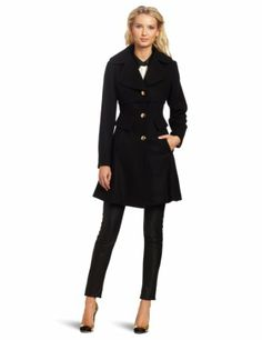 Jessica Simpson Womens Single-Breasted Capelet Coat With Full Skirt, Black, Small $161.00