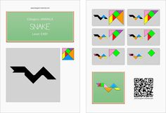 Tangram worksheet 180 : Snake - This worksheet is available for free download at http://www.tangram-channel.com