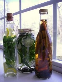 DIY flavored vinegars, for salad dressings and such.