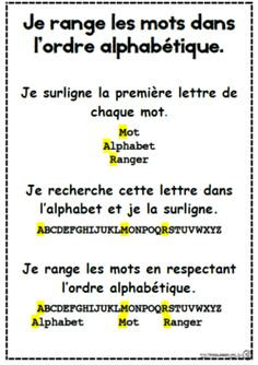 Ordre alphabétique, alphabet, ce1, affiche, mémo, vocabulaire French Teaching Resources, Teaching French, Read In French, French Education, Beginning Of Year, French Grammar, Alphabet, Word Work, Teaching Reading