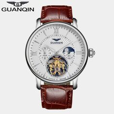 2016 Men Watches Luxury Top Brand GUANQIN Sport Watch Leather Gold Clock Men Tourbillon Automatic Wristwatch With Moon Phase Like and Share if you agree!  #shop #beauty #Woman's fashion #Products #Watch http://www.buzzblend.com