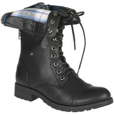 Folded down ,plaid combat boots