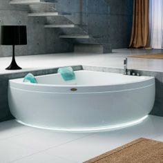 Luxury Drop-In Aquasoul Corner Jacuzzi Tub Design by Carlo Urbinati with Innovative Headrest and LED Lighting Kit Features Corner Jacuzzi Tub, Corner Bath, Bathroom Kids, Bathroom Colors, Bathroom Designs, Master Bathroom, Window In Shower, Colorful Interior Design, Whirlpool Bathtub