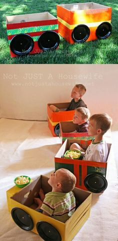 DIY/for Kids :: drive in movie cars for family movie night. Great idea, fun to make (let the KIDS design/paint/decorate their own vehicle). Fun for a party or movie for family night @ preschool. Kids Crafts, Projects For Kids, Diy For Kids, Diy Projects, Car Crafts, Crafts For Toddlers, Family Crafts, Easter Crafts, Toddler Boys