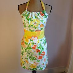 Upcycled Vintage Fabric Full Apron Yellow Floral by UppityStuff