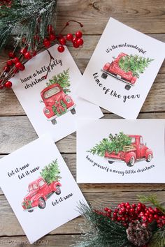 5 Free Vintage Truck Christmas Printables: Classic vintage Christmas truck print to fill your home with charm and cheer. 5 Free Vintage Truck Christmas Printables: Classic vintage Christmas truck print to fill your home with charm and cheer. Christmas Party Table, Christmas Red Truck, Noel Christmas, Christmas Signs, Christmas Projects, Holiday Crafts, Christmas Ornaments, Free Christmas Cards, Hanging Christmas Decorations