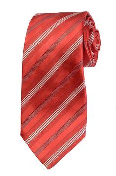 KITON Napoli Hand-Made Seven Fold Red Satin Diagonal Repp Striped Silk Tie NEW