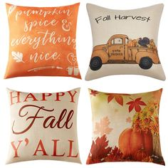 Anickal Set of 4 Fall Pillow Covers Autumn Theme Farmhouse Decorative Throw Pillow Covers Inch for Sofa Couch Decor Thanksgiving Home Decorations, Fall Home Decor, Fall Decorations, Autumn Centerpieces, Thanksgiving Ideas, Plaid Throw Pillows, Fall Pillows, Decor Pillows, Toss Pillows