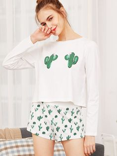 5dc5ad9fa Shop Cactus Print Tee And Shorts Pajama Set online. SheIn offers Cactus  Print Tee And Shorts Pajama Set   more to fit your fashionable needs.