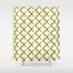 Elegant gold foil dots shower curtain.