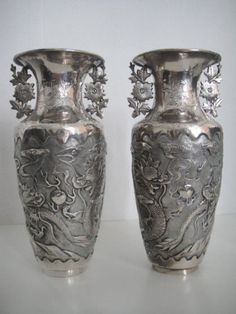chinese silver vases (2 pieces)