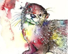 Delilah The Otter Limited Edition Painting Watercolour Colour Print Watercolor Animals, Watercolor Art, Otter Tattoo, Art Aquarelle, Otters, Artist At Work, Animal Drawings, Cute Art, Bunt