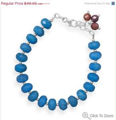 NOW ON SALE Blue Quartz and Ruby Bead Bracelet by jewelrymandave, $42.46