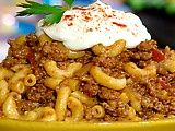The best goulash recipe I have come across.  My kids love this.  Perfect for cold weather months, when you want something to warm to fill you up.  I only use one of the two onions the recipe calls for.  Top with a dollop of sour cream and serve with some cheddar ciabata bread.  YUM!