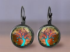Earrings - Tree of Life 7 - 12mm Jewelry Choice of Post or Leverback Earrings - Your Choice of Finish - Bronze Gunmetal Silver Copper Stud