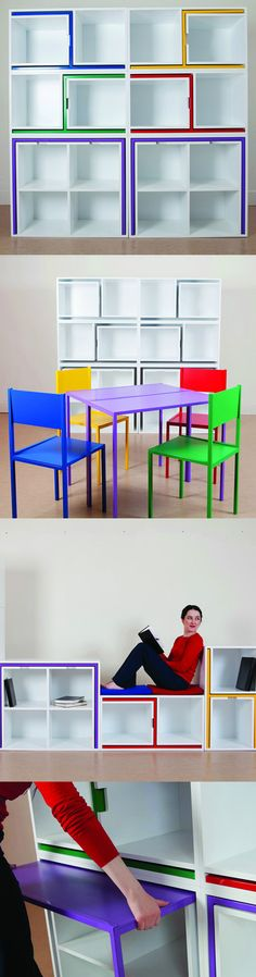 Designed by Irish designer Orla Reynolds, this innovative furniture set comes with white shelves, two colorful tables and 4 chairs