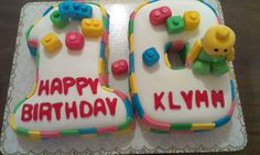 Baby Lego  Chocolate cake with vanilla buttercream filing covered with fondant