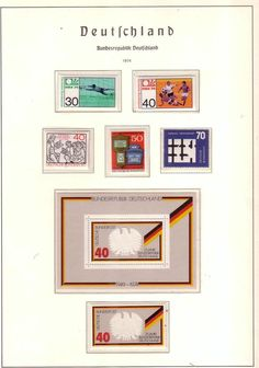 East Germany 6 mint stamps and Miniature sheet on album page 1974 offer over £1 to win