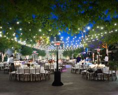 This Market Lighting is beautiful strung along the trees above the seating arrangements! #love #events #lighting