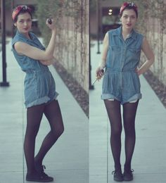 We Can Do It! (by Danielle Payton) http://lookbook.nu/look/2635679-Scarf-Denim-Romper-American-Apparel-Opaque-Tights