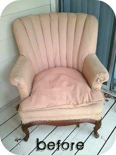 1 original chair- DIY reupholstered chair