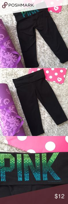 Victoria's Secret PINK Yoga Capris Black with ombre green to blue bling. One of the sequins came off in the wash, my loss your gain. Price reflects loss.  Size small. Measurements of waist and inseam shown. Minor to to fading. No puling at all. PINK Victoria's Secret Pants