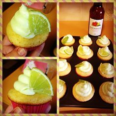 Strawberry-Lime cupcakes with lime cream cheese frosting!
