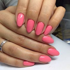 Accurate nails, Almond-shaped nails, Beautiful nails 2016, Bright pink nails…