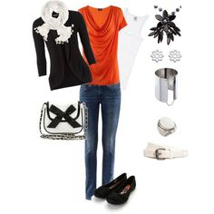 Orange shirt with black sweater