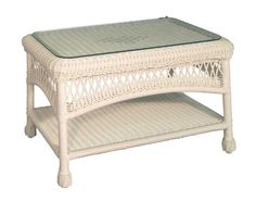 charlottetown natural all-weather wicker patio coffee table