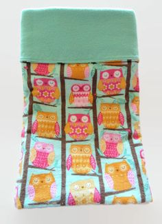 "Receiving Blanket Flannel Pink And Aqua Reversible Sleepy Owl Design 37"" Square by BitsyBeeStitches on Etsy"