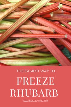 The Best Way to Freeze Rhubarb Learn how to freeze so you can enjoy it all year long! You can also make delicious freezer to preserve your You'll be able to make delicious Rhubarb Jam Recipes, Rhubarb Desserts, Rhubarb Cake, Healthy Rhubarb Recipes, Freezing Vegetables, Fruits And Veggies, Growing Rhubarb, Rhubarb Freezing, Can You Freeze Rhubarb