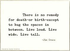 """For the wall? But maybe say  """"Hug the space between death and birth. Live loud. Live wide. Live tall.""""  ?? I LOVE THIS PLEASE SAY YES."""
