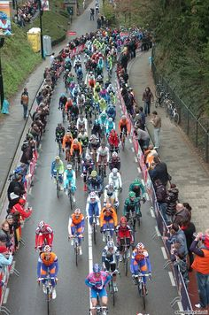 Amstel Gold Race Photos - The peloton passing through the Cauberg in Valkenburg where they return for the finish
