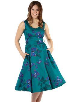 Teal Green Butterfly Charlotte, vihertävä kellomekko -  www.misswindyshop.com   #dress #teal #vintagestyle #butterfly #fiftiesstyle #circledress #petticoat #pockets