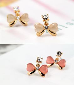 Cateye Heart Shape Bow Tie Stud Earrings