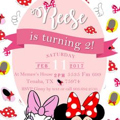 2nd Birthday, Rsvp, Minnie Mouse, Daisy, Printables, Invitations, Iphone, First Birthday Invitations, Colorful Party